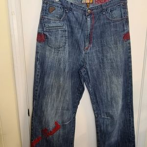 Akademiks Jeans Red Embroidery Street Wear